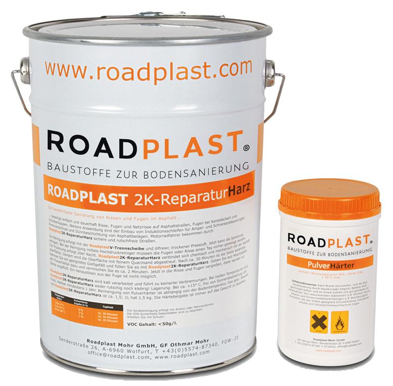 RoadPlast Eimer mit 2K-ReparaturHarz sowie PulverHärter